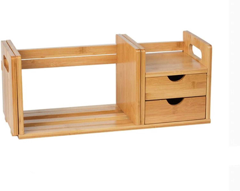 Rack Shelves Bookshelf Nan Bamboo Storage Rack Simple Shelves with Drawers (color   Double Drawers)