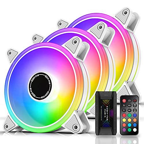 EZDIY-FAB Moonlight Ventilador de Caja RGB 120 mm con concentrador de Ventilador X,Placa Base Aura Sync,Control de Velocidad,Ventilador direccionable para Caja de PC-Blanco 3 Pack