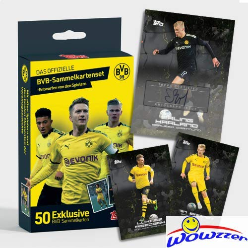 2020 Topps BVB Borussia Dortmund Factory Sealed 50 Card Curated Box Set with Erling Haaland, Jordan Sancho, Giovanni Reyna & More! Look for Autos of Haalen & Sancho selling for up to $3,000! WOWZZER!