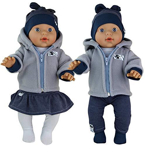 Kindabox Puppenkleidung 5-TLG Set für Puppe bis 43 cm (ohne Puppe) (Grau - 5 TLG.Set für Jungen)