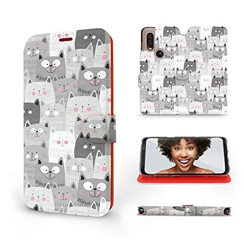 Mobiwear   Slim FLIP Hülle   Kompatibel mit Motorola One Vision, Made in EU handyhülle, Premium Schutzhülle, Transparent TPU Silicon, Book Style Hülle, Tasche - Graue Katzen