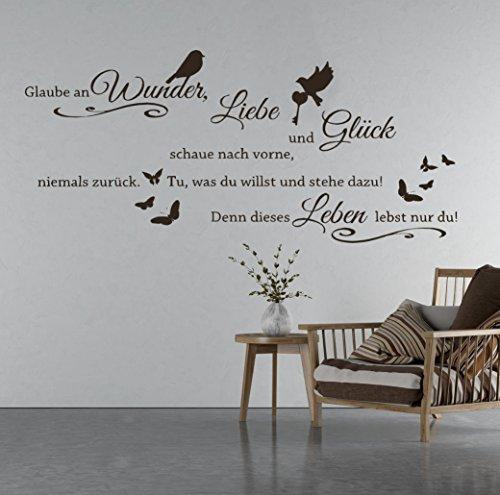 tjapalo® S-TK03a 110x53cm Wandtattoo Wohnzimmer Wandtatoo Wandspruch Glaube an Wunder Liebe und Glück / in vielen Farben