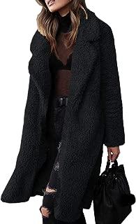 Womens Thicken Warm Fuzzy Fleece Lapel Coat Faux Fur Warm Winter Outwear Jackets