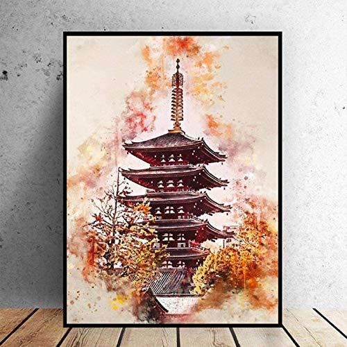 Preisvergleich Produktbild SXXRZA Poster Artworks 40x60cm Kein Rahmen Tokyp In Aquarell Kunst Leinwand Malerei Poster Home Decoration Malerei