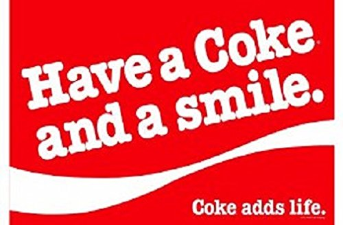 COCA Cola Coke Set de table américain slogan « Have a Coke and a Smile. Coke adds life »