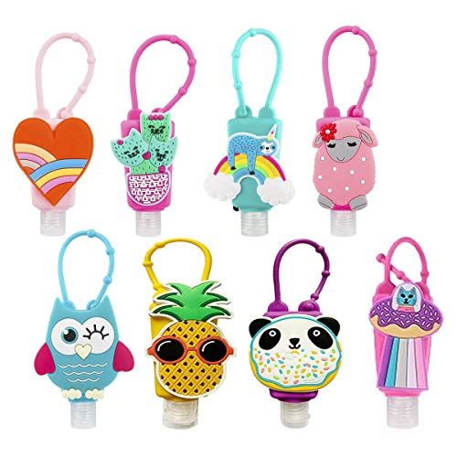 8Pcs Kids Cartoon Hand Sanitizer Clip, 30ml Hand Cleaner Holders Keychain Carrier Travel Size Bottle with Silicone Case, Mini Portable Detachable Leak Proof Refillable, Flip Cap for Travel Daily Use