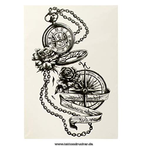 1 x Kompass Uhr XL Tattoo in schwarz - Fake temporäres einmal Körpertattoo HB881 (1)