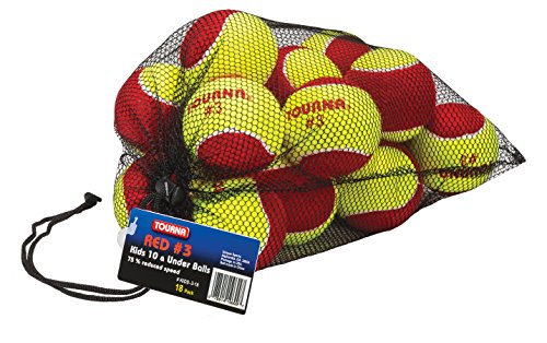 TOURNA Low Compression Stage 3 Tennis Ball with Mesh Bag (18-Pack)