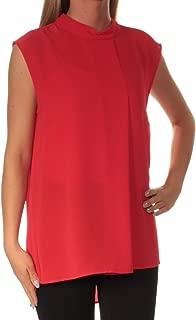 Women's Sleeveless Mock Neck Blouse W/Front Fold