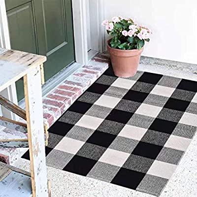 """Buffalo Plaid Rug - 18""""x28"""" Black and White Check Door Mat Outdoor - Farmhouse Rugs for Kitchen/Bathroom/Front Porch/Decor - Welcome Doormats - Checkered Flannel Cotton Entry Way Mats"""