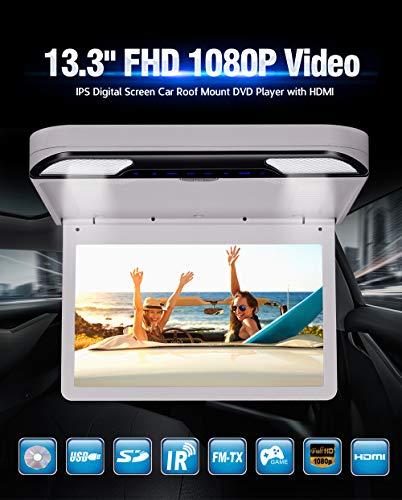 Ultra dünner Overhead MP5 Player Touch Key 1080P HD IPS Bildschirm Flip Down Monitor Auto Dachmontage Player mit Fernbedienung Double Dome LED Lights unterstützt USB SD HDMI 33,78 cm beige