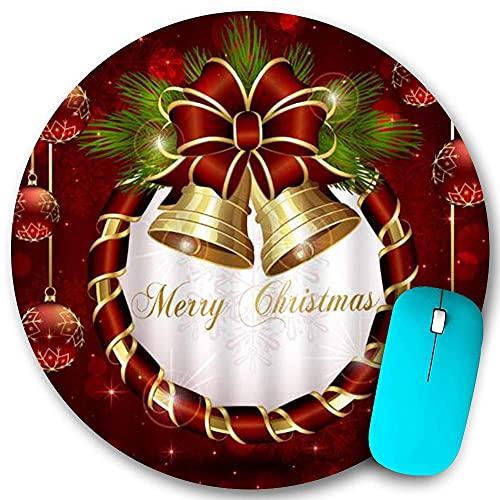 Alfombrilla de ratón redonda, Feliz año nuevo Navidad Bowknot Campanas en cintas circulares Bolas Copo de nieve Brillo Merry Jolly, Base de goma antideslizante Alfombrillas de ratón de oficina en casa