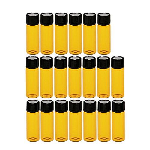 Fenteer 20pcs Bouteille Flacon Vide en Verre Rechargeable et Réutilisable Contenant de Parfum, Huile Essentielle Vernis à Ongles, Lip Gloss - marron, 5 ml