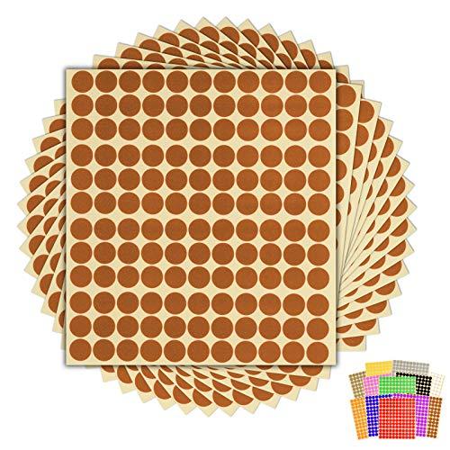 Klebepunkte, rund, 13 mm, 15 Blatt, Braun, 1.980 Stück