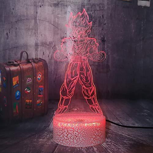 Dragon Ball Son Goku - Lámpara de mesa 3D con diseño de bola de dragón Goku con figuras de dibujos animados LED de noche para habitación, iluminación decorativa Holiday Boys Toys