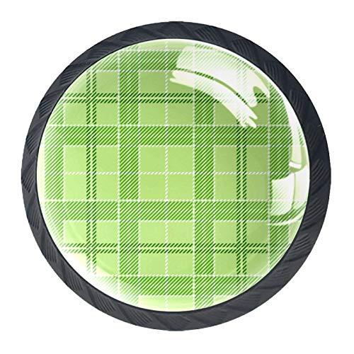 Tirador de manijas de cajón Perillas decorativas del gabinete del cajón Manija del cajón del tocador 4 piezas,Tela escocesa verde