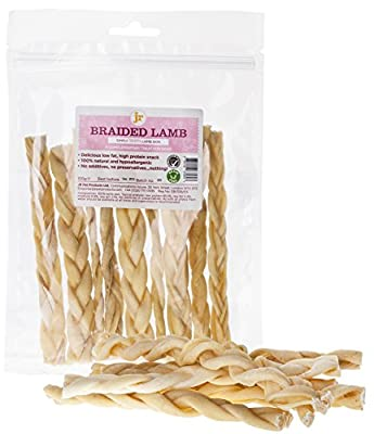 """200g Braided Lamb Skin (Approx 20 Sticks) 6"""" Inch Natural Dog Treat Chew Gluten & Grain Free By JR Pet Products"""