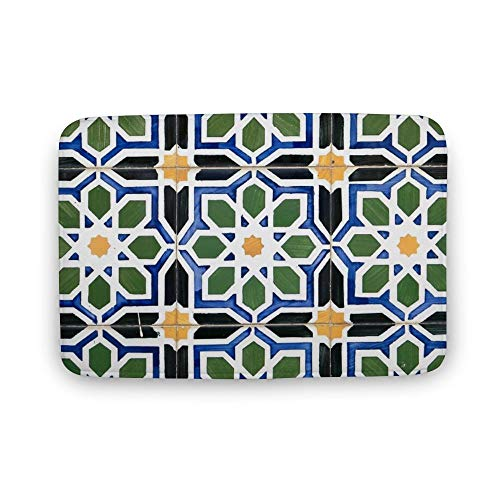 VinMea zachte deurmat, traditionele Portugese geglazuurde tegels deur matten tapijt voor badkamer keuken slaapkamer entree vloer matten, grappige bad mat, 16