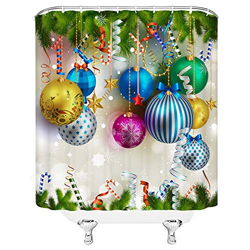 Xnichohe Merry Christmas Shower Curtain Happy New Year Christmas Ball Pine Branches Color Ribbon Polyester Fabric Bathroom Shower Curtain Set 70x70 Inch with Hooks