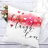 4TH Emotion Live Laugh Love Heart Throw Pillow Case Cushion Cover Cotton Polyester 18 x 18 Inch Valentine's Day Home Decoration