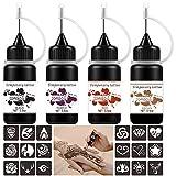 Temporary Tattoo Kit Jagua Gel Tattoos 4 Bottles Brown/Black/Red/ Purple(2oz) Semi-Permanent Tattoos Freehand Ink DIY Fake Freckles Tattoos 35 Pcs Free Tattoo Stickers Stencils