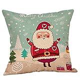 LILIHOT Baumwolle Leinen Weihnachten Weihnachtsmann Baum Reißverschluss Kissenbezug Sofa Taille...