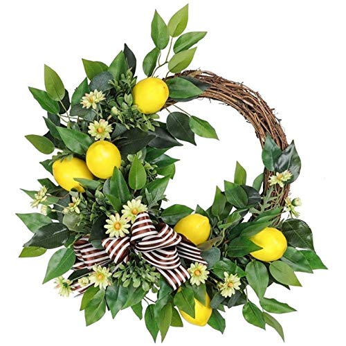 ARONG Environmental Protection Garland, 20 Inch Wreath Artificial Lemon Wreath for Family Gathering Indoor Outdoor Window Wall Wedding Decoration Home Decoration (Color : Yellow Green)