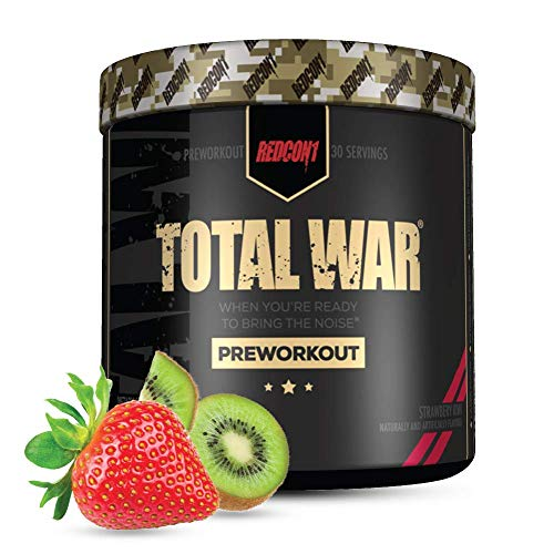 Redcon1 - Total War Preworkout Powder - Strawberry Kiwi - 30 Servings - Insane Energy, Laserlike Focus, Insane Endurance (Strawberry Kiwi)