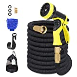 Adoric Life Flexible Expandable 50ft Garden Hose, 100% Latex Core Expanding Water Hose with Solid...