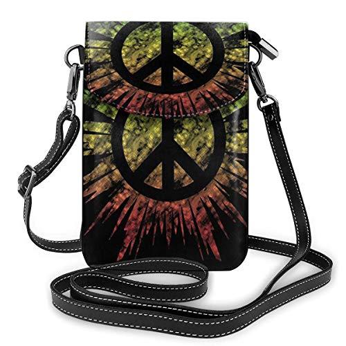 Crossbody Handy Geldbörse Rasta Tie Dye Peace Sig Frauen PU Leder Multicolor Handtasche mit verstellbarem Riemen