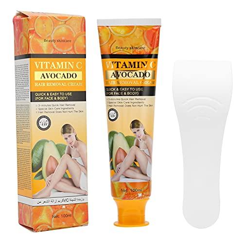 Crema depilatoria con vitamina C, apta para la piel, sin dolor, sin defectos, depilatoria para mujeres y hombres, crema depilatoria indolora para el vello corporal 100 ml