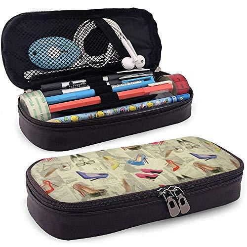 Étui à crayons en cuir pour chaussures à talons hauts, trousse de maquillage de voyage, boîte à étuis