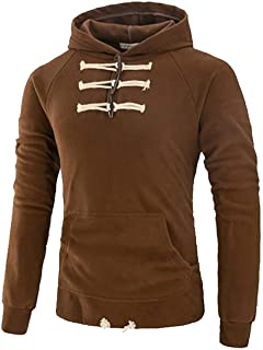 Men's Sweatshirt Casual Loose Pullover Drawstring Button Up Hooded Sweatshirt Red US Small