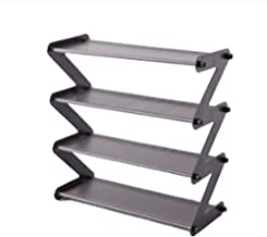 """""""Z"""" Shape Shoe Rack Shoe Tower Organizer Cabinet Entryway Stackable Storage Shelf Unit with 4-Tier Durable Stainless Steel"""