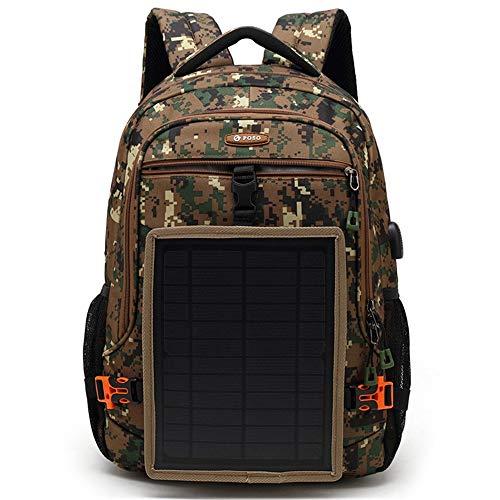 EIEI Solar Backpack, 15.6-inch Multifunctional Rucksack, USB charging Outdoor Leisure Travel dual-shoulder Daypack,Camouflage
