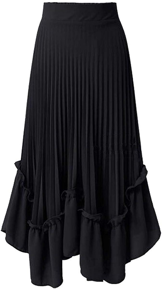 LKMRG Spring Summer Women Skirt Chiffon Maxi Skirt High Waist Pleated Skirt Female Casual Streetwear A-Line Long Skirts