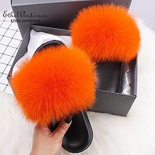 Ethel Anderson Fashion Real Raccoon Fur Slides Slippers Summer Flip Flops Casual Vogue Fox Fur Sandals Vogue Plush Shoes,C...
