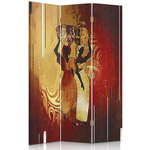 Feeby Frames. Raumteiler, Gedruckten aufCanvas, Leinwand Wandschirme, dekorative Trennwand, Paravent einseitig, 3 teilig (110x150 cm), Afrika, Frauen, KANNEN, BRAUN, ORANGE
