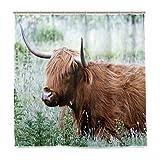 ISAOA Wünschenswert Kuh Blume wasserdicht Duschvorhang, schimmelresistent antibakteriell Personalisiertes Design Polyester Stoff Vorhang für Badezimmer, 180x 180cm mit 12Haken
