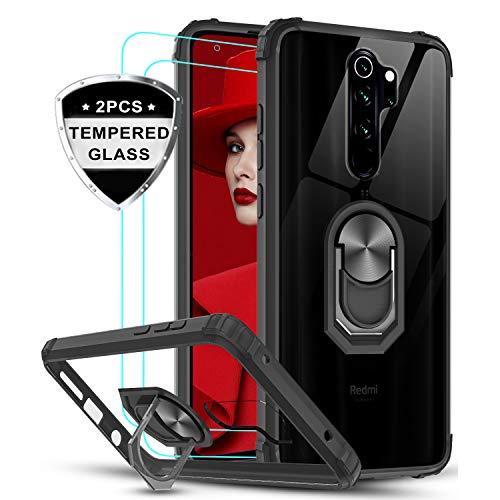 LeYi für Xiaomi Redmi Note 8 Pro Hülle mit Panzerglas Schutzfolie(2 Stück),Ringhalter Schutzhülle Crystal Clear Acryl Cover Air Cushion Handy Hüllen für Case Xiaomi Redmi Note 8 Pro Handyhülle Schwarz