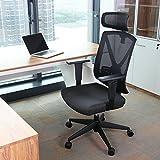 INTEY Bürostuhl Schreibtischstuhl ergonomischer Drehstuhl mit verstellbare Kopfstütze und Armlehnen, Höhenverstellung und Wippfunktion für Soho- oder Büroarbeit, Belastbar bis 150kg - 8