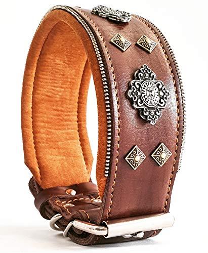 "Bestia ""Aztec Genuine Leather Big Dog Collar. Studded. 2.5 inch Wide. Unique Rivet Design. Handmade. Soft Padded with Foam and Leather. Rottweiler, Cane Corso, Mastiffs, Dogo, Bully, American Bulldog"