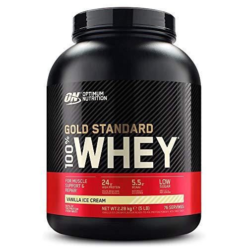 Optimum Nutrition Gold Standard 100% Whey Proteína en Polvo, Glutamina y Aminoácidos Naturales, BCAA, Helado de Vainilla, 76 Porciones, 2,28kg, Embalaje Puede Variar