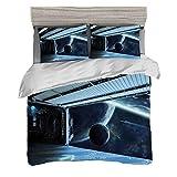 Funda nórdica Tamaño King (200 x 200 cm) con 2 fundas de almohada Decoración del espacio exterior Juegos de cama de microfibra Luna antes de la estación Planeta Apocalipsis aterrizaje Robots humanoide