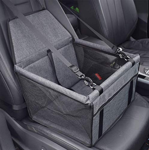 YAOJU Hunde Autositz für Hunde, Hundebox Auto Sitzerhöhung für Hunde,Wasserdicht Faltbar Atmungsaktiv Haustier Sicherheit für Reise,Kleine Hunde oder Katzen (Grey)
