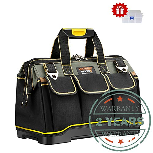 Tool Bag 16-inch Upgraded with PVC Base Tool Storage Bag Multi-Functional Large Capacity Wearproof & Waterproof Tool Tote Bag for Electricians Carpenters