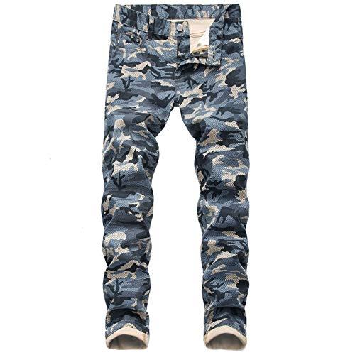 Pantalones Vaqueros de Camuflaje para Hombre Pantalones de Combate de Carga de Mezclilla elásticos Rectos y Resistentes al Desgaste Resistentes al Desgaste 44
