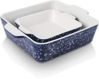 KOOV Ceramic Baking Dish Set of 2, Square Baking Pan 8 x 8 inches & 6 x 6 inches, Small Baking Dish Pans, Brownie Pan for ...