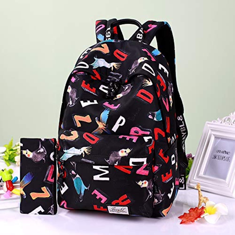 SQB Wasserdichte Stofftaschen, 3D-Buchstaben, Papageiendrucke, Wasserbecher, Mnner- und Frauenschultern, Schulbücher.