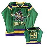 NHICR DụCKṡ BȧṅKS Jerseys de Hockey sobre Hielo para Hombres # 99 Sweatshirt de Ropa Deportiva, Bordado de retroclothing de Entrenamiento de Manga Larga para Fans de depor Green-XXXL.